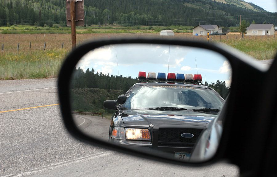 this is a photo of a car being pulled over for drunk driving