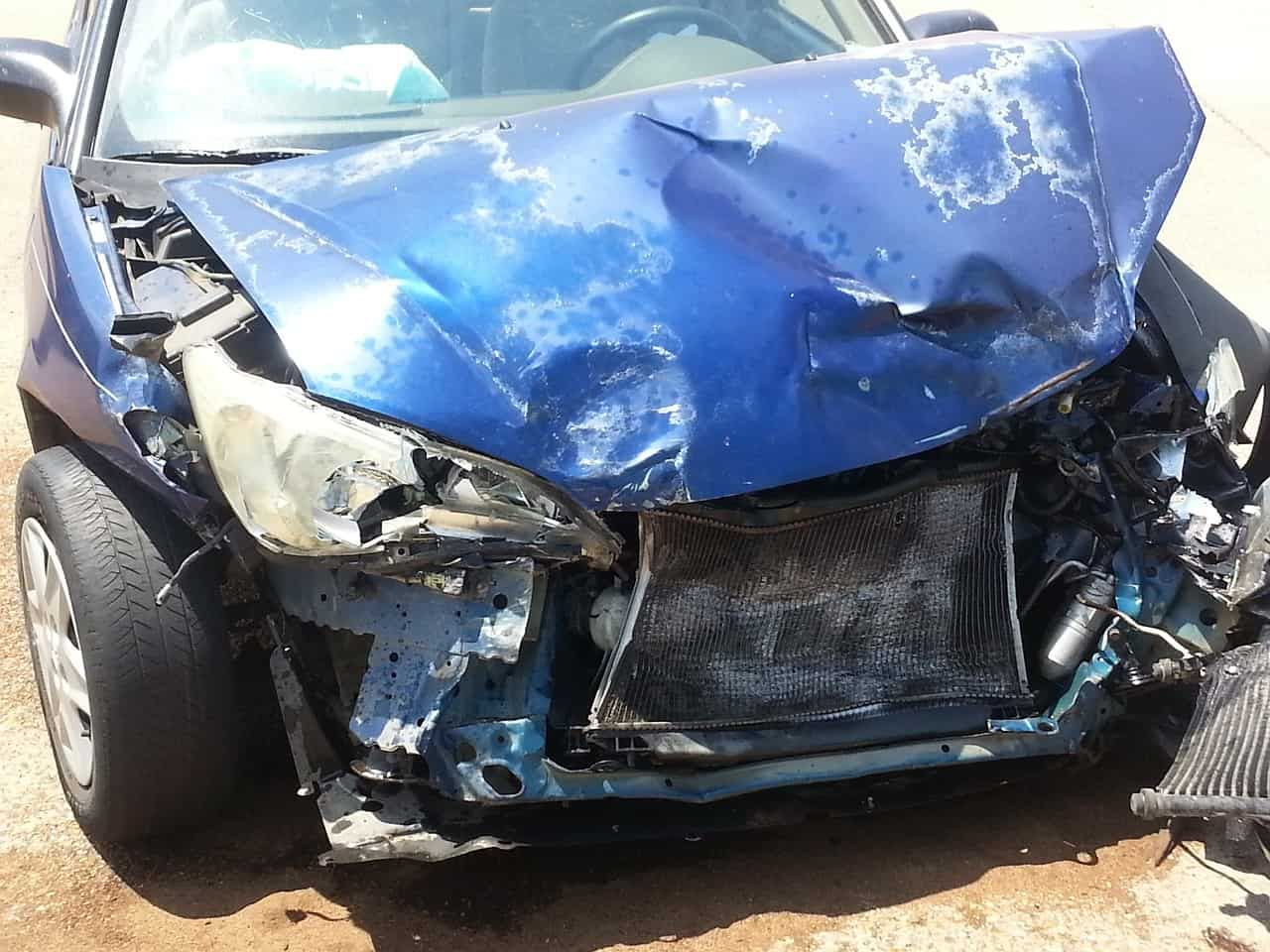 Totaled car with ignition interlock breathalyzer